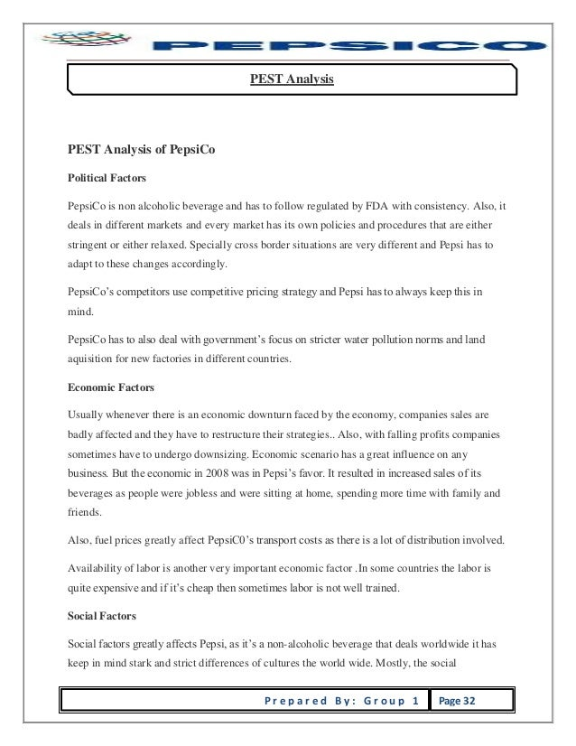 report on pepsico Project report on pepsi : this is the project study on pepsi which will help you a lot to know about pepsi and you can download it as well.