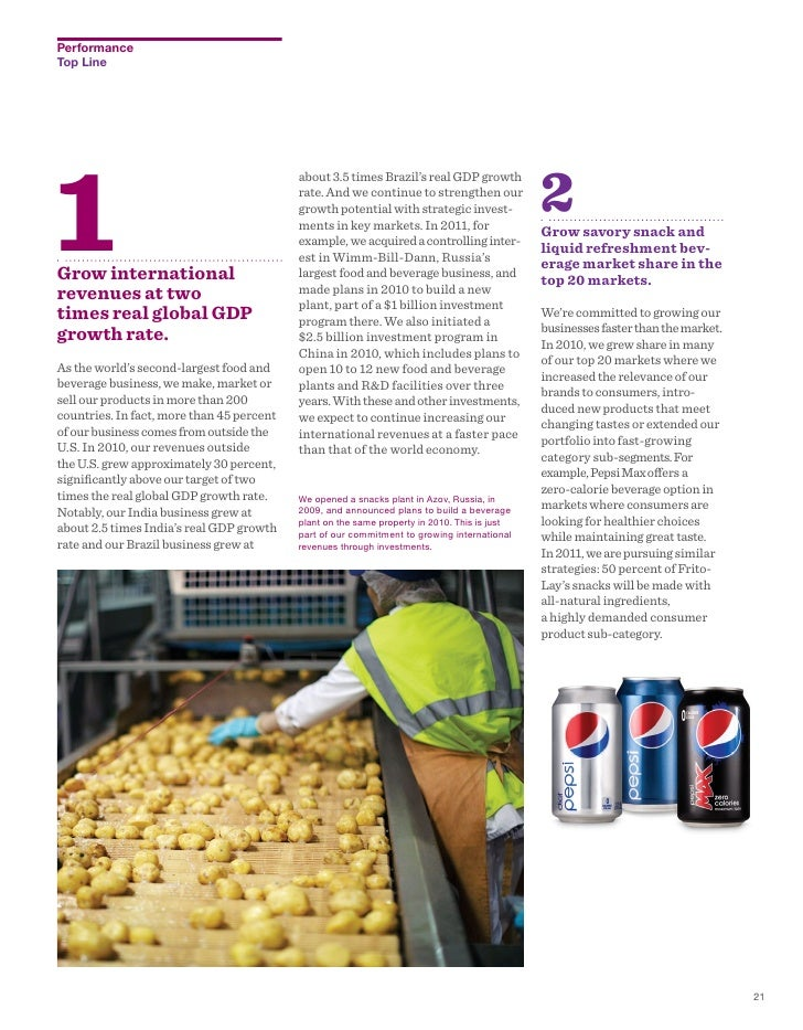 pepsico annual report Pepsico is a publicly traded company on nyse using the ticker symbol pep detailed information on company financials and operating reports can be found here: nyse: pep pepsico annual revenue and growth rate.