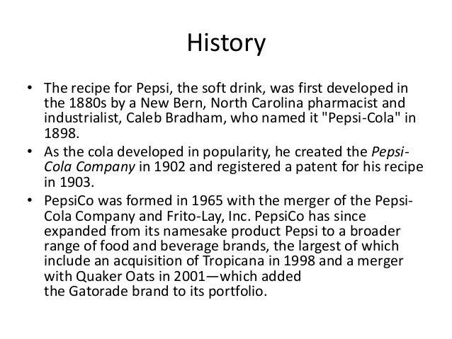 the corporate history of pepsi company founded by donald m kendall Mack established a board of directors with real voting powers to ensure that no   a stunt pulled in 1959 by donald m kendall, head of pepsi-cola international,.
