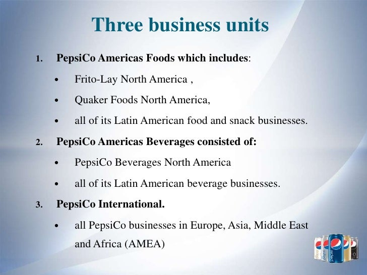 pepsico mission and objectives The mission is to be the global premier company in consumer products focusing mainly on convenient foods and shrd with respect to business objectives of pepsico.