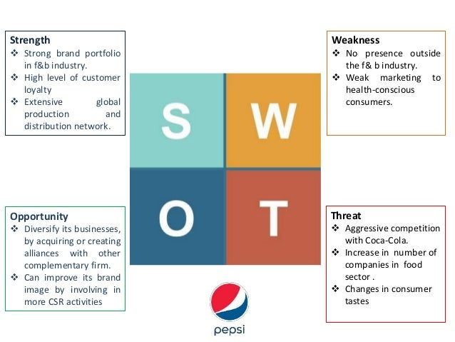 pepsico analysis This pepsico swot analysis reveals how the second largest food company in the world uses its competitive advantages to dominate snack and beverage industries it identifies all the key strengths, weaknesses, opportunities and threats that affect the company the most.