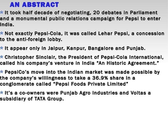 Case Analysis on Pepsi's Entry to India