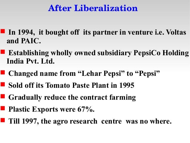 introduction of pepsi in indian market