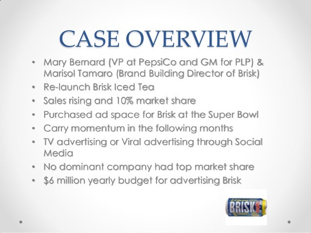 pepsi lipton briskcase brief This is a portuguese version this case showcases key decisions in promoting the re-launch of brisk, a ready-to-drink iced tea by pepsi-lipton the decisions are.