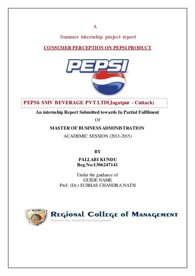 industrial visit report on pepsi