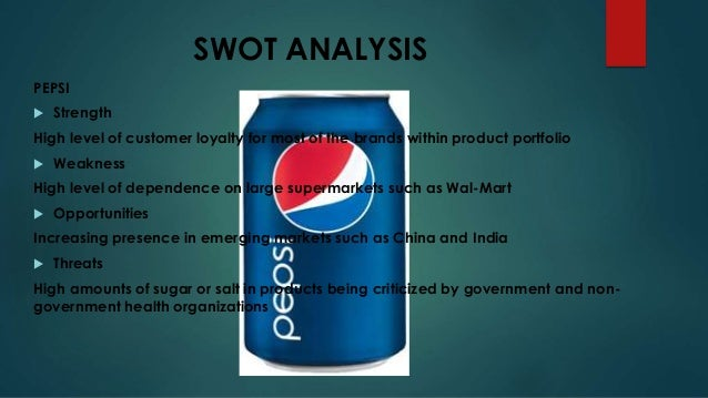 swot analysis pepsi For coca cola pestle and swot analysis, see coca cola pestle & swot for unilever pestle and swot analysis, see unilever pestle & swot 10 introduction pepsico is an american based multinational corporation that is engaged in the manufacture, marketing and distribution of a broad range of snack foods and beverage brands including the.