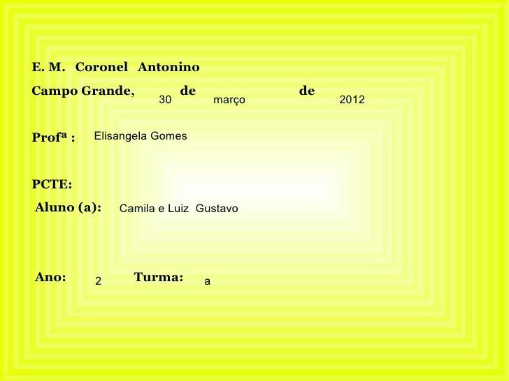 E. M. Coronel AntoninoCampo Grande,             de               de                     30            março        2012Pro...