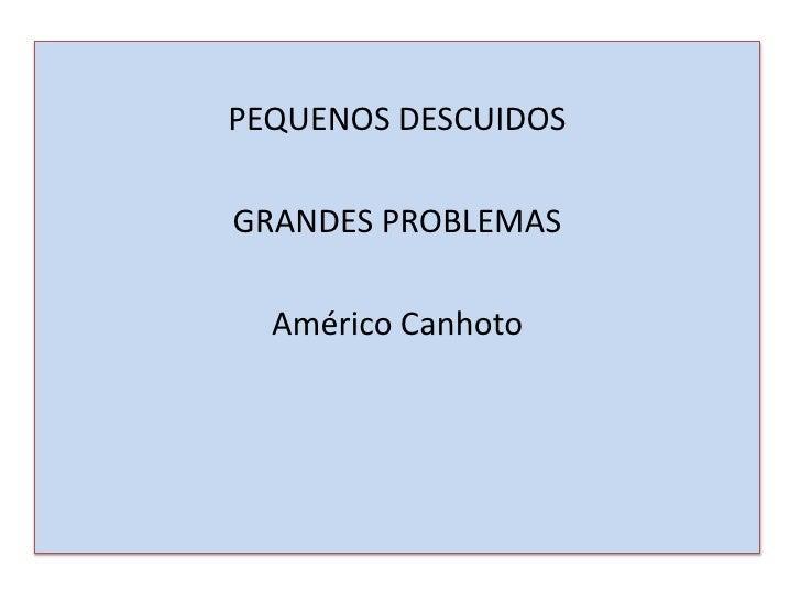 PEQUENOS DESCUIDOSGRANDES PROBLEMAS  Américo Canhoto