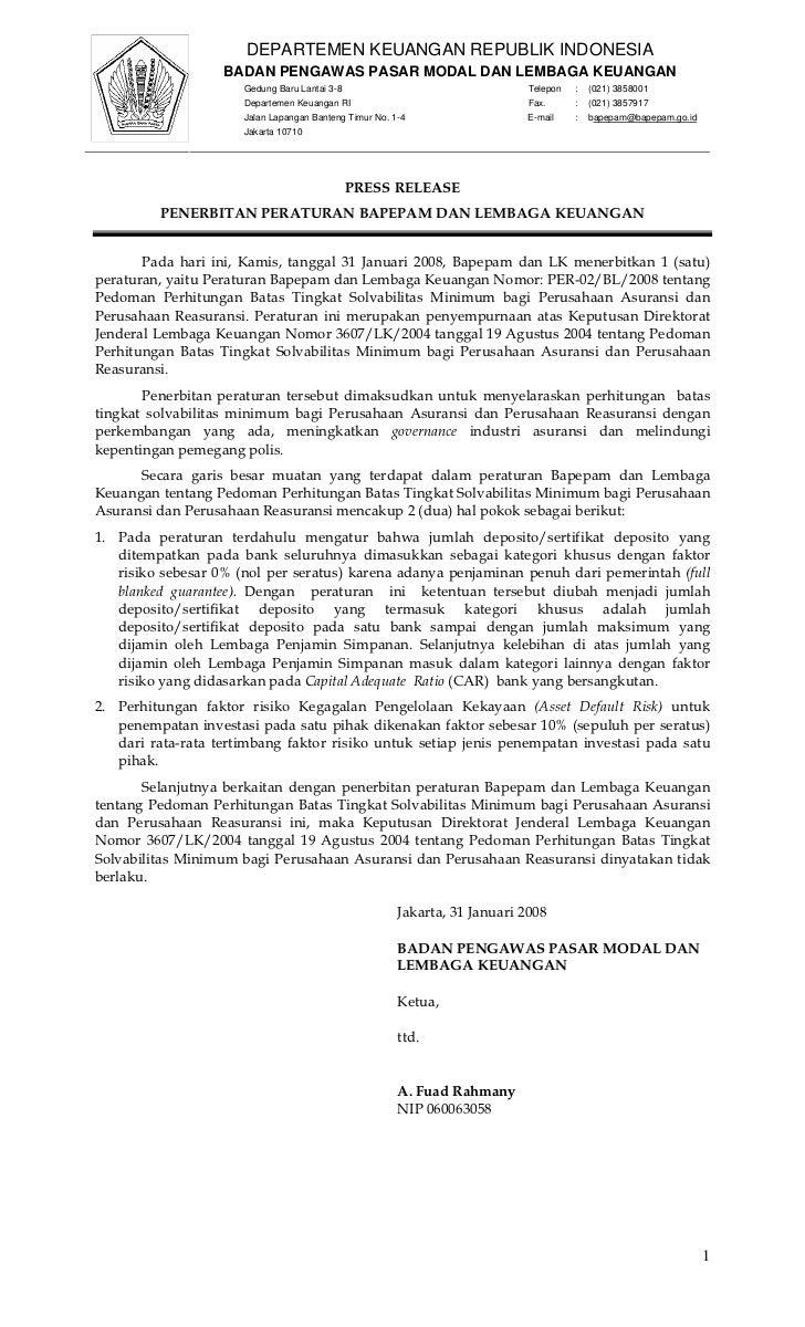 DEPARTEMEN KEUANGAN REPUBLIK INDONESIA                   BADAN PENGAWAS PASAR MODAL DAN LEMBAGA KEUANGAN                  ...
