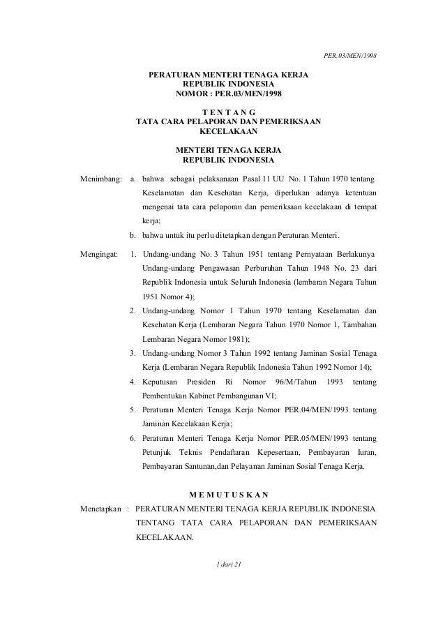 PER.03/MEN/1998 1 dari 21 PERATURAN MENTERI TENAGA KERJA REPUBLIK INDONESIA NOMOR : PER.03/MEN/1998 T E N T A N G TATA CAR...