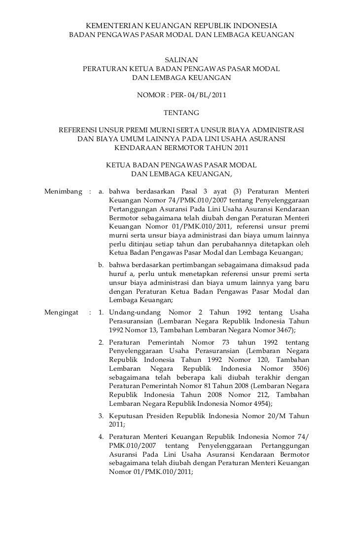 KEMENTERIAN KEUANGAN REPUBLIK INDONESIA      BADAN PENGAWAS PASAR MODAL DAN LEMBAGA KEUANGAN                              ...