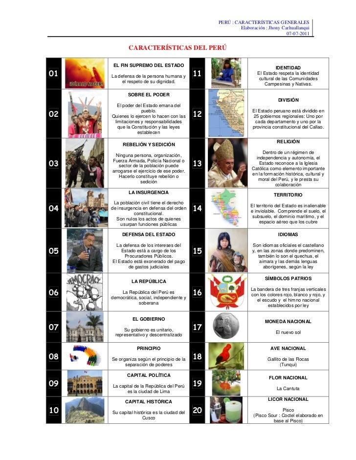 PERÚ : CARACTERÍSTICAS GENERALES                                                 Elaboración : Jhony Carhuallanqui        ...