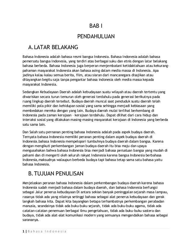 Peranan Bahasa Indonesia Dalam Perkembangan Budaya Daerah