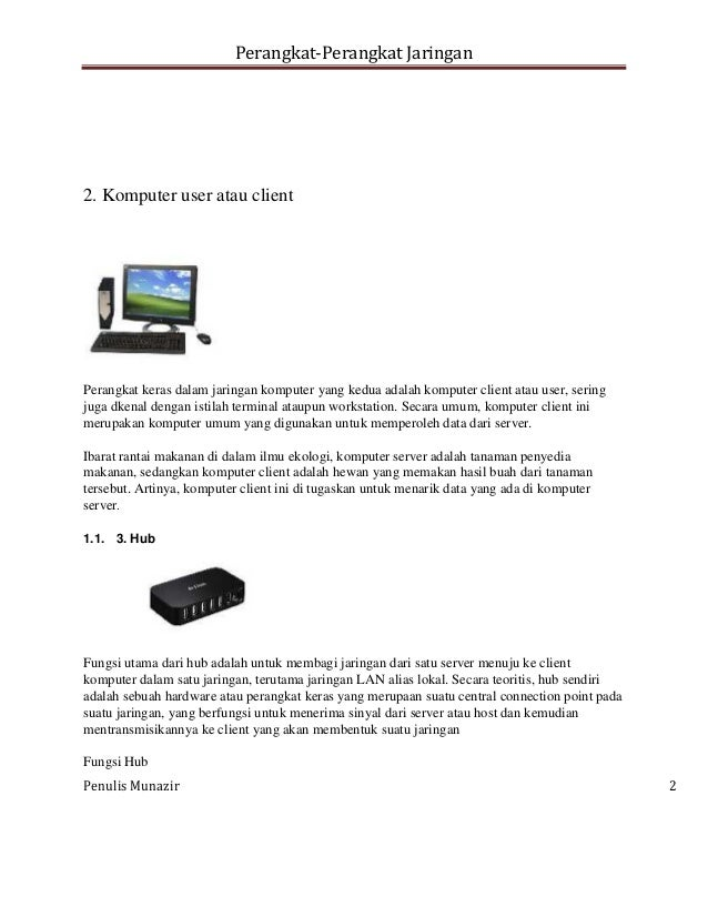 Perangkat Perangkat Jaringan