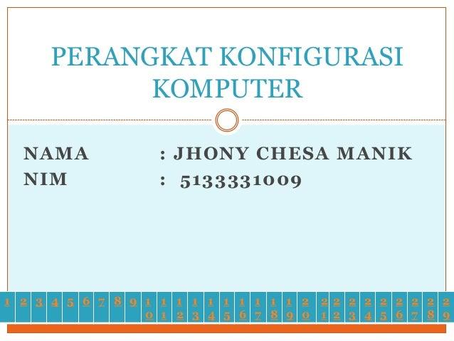PERANGKAT KONFIGURASI KOMPUTER NAMA NIM  : JHONY CHESA MANIK : 5133331009  1 2 3 4 5 6 7 8 9 1 1 1 1 1 1 1 1 1 1 2 2 2 2 2...