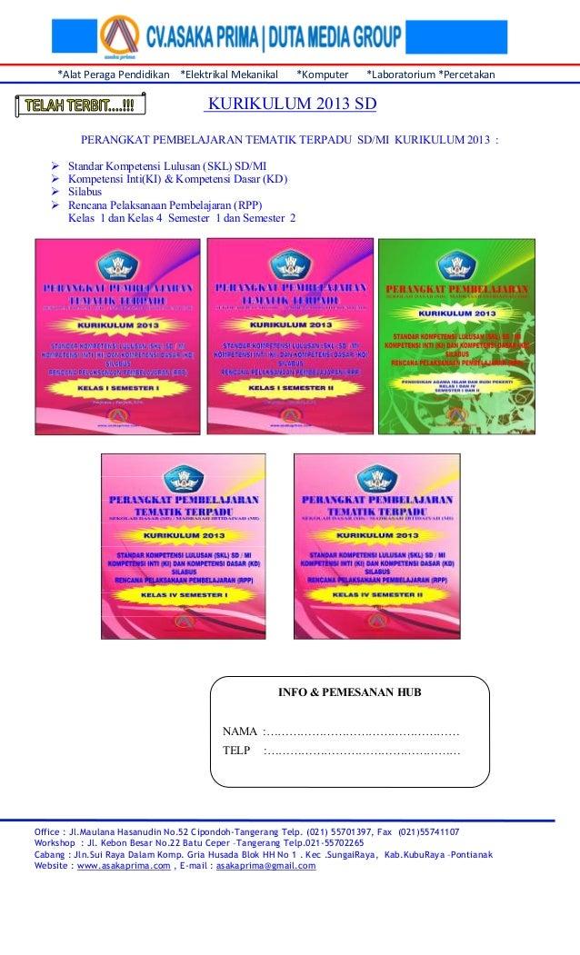 Rpp Kurikulum 2013 Buku Perangkat Pembelajaran Tematik Sd Kurikulum 2