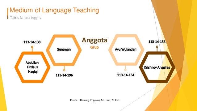 Medium of Language Teaching Tadris Bahasa Inggris Abdullah Firdaus Haqiqi Gunawan Ayu Wulandari Krisfinoy Anggiras 113-14-...
