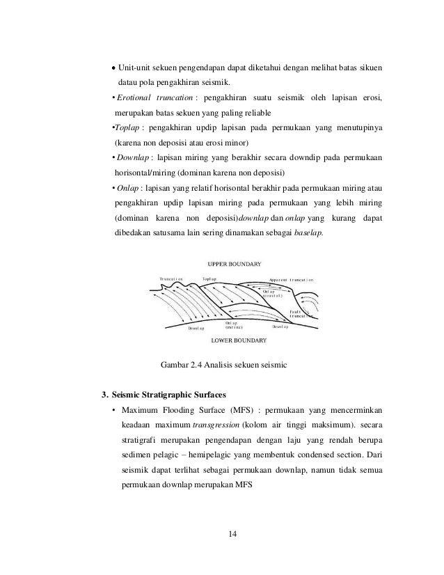 Unit-unit sekuen pengendapan dapat diketahui dengan melihat batas sikuen datau pola pengakhiran seismik. • Erotional trunc...