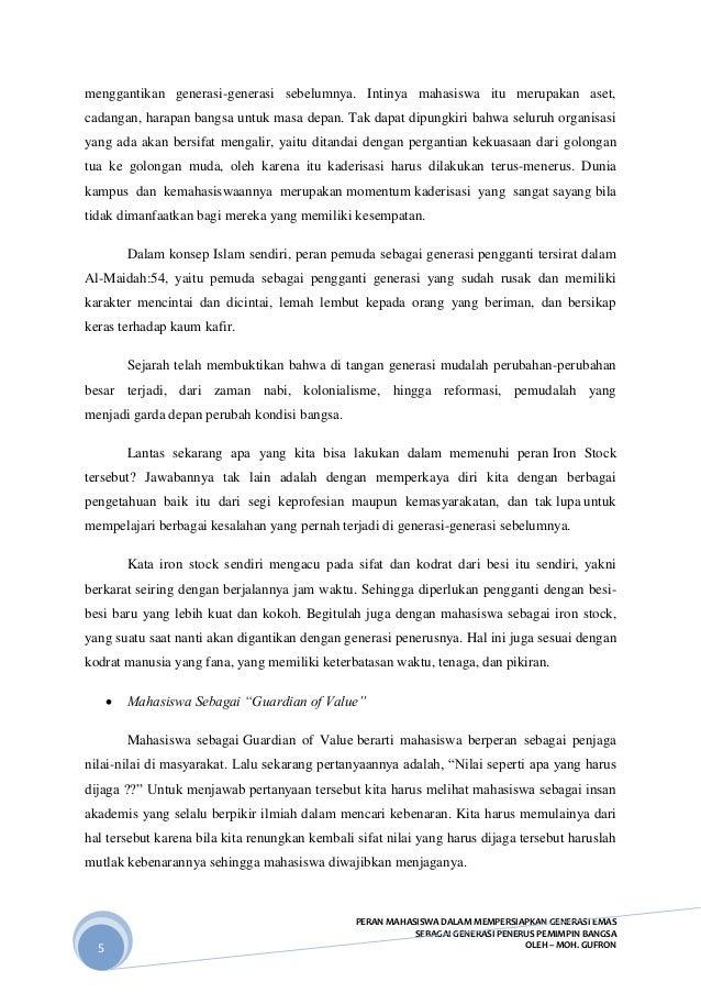 contoh essay peran mahasiswa sebagai iron stock