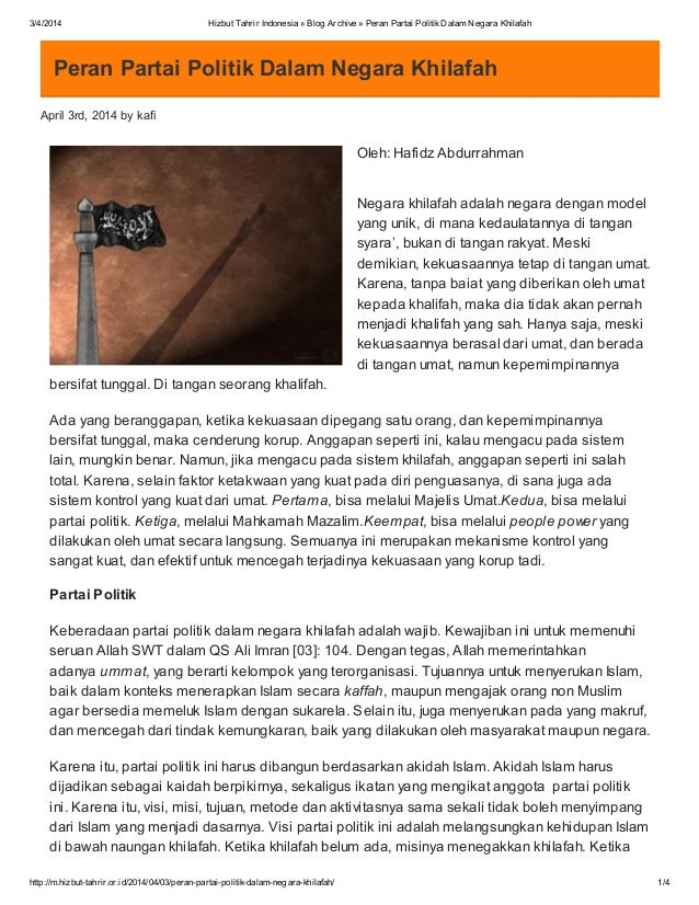 3/4/2014 Hizbut Tahrir Indonesia » Blog Archive » Peran Partai PolitikDalam Negara Khilafah http://m.hizbut-tahrir.or.id/2...