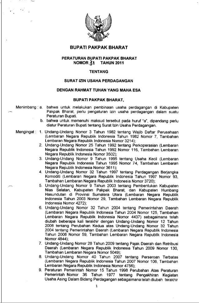 Peraturan Bupati No 31 Ttg Surat Izin Usaha Perdagangan