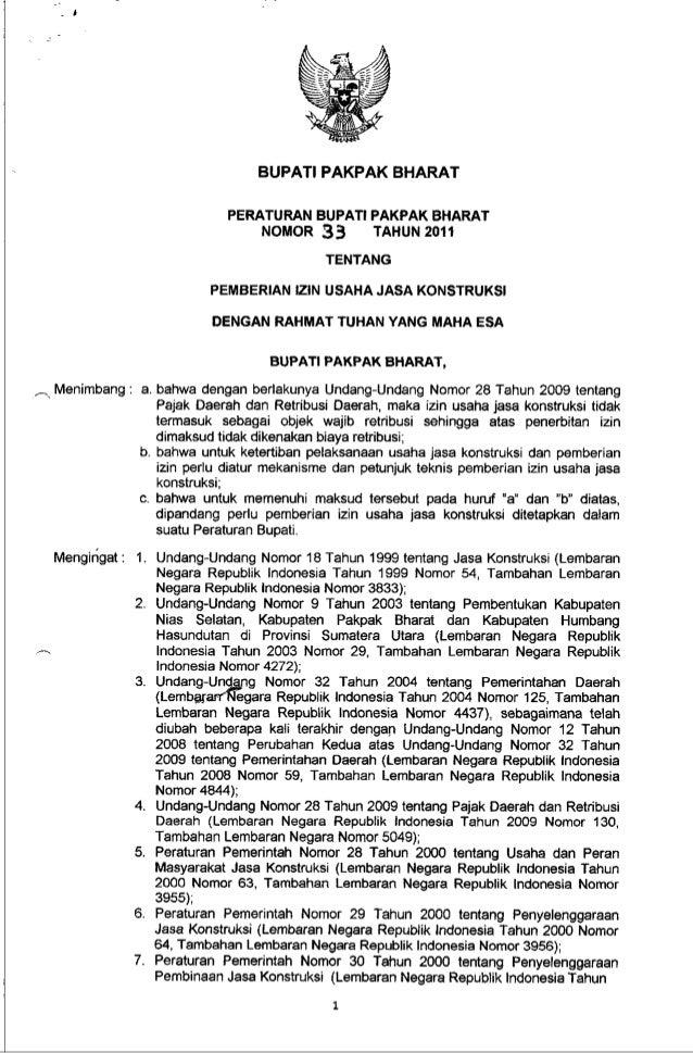 Peraturan Bupati No 33 Ttg Pemberian Izin Usaha Jasa Konstruksi