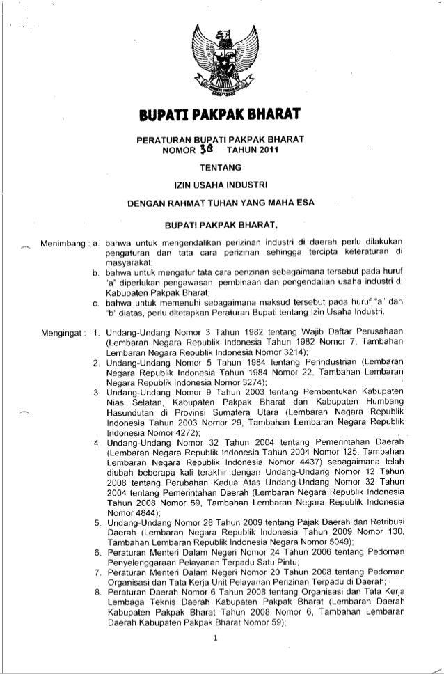 Peraturan Bupati No 38 Ttg Izin Usaha Industri