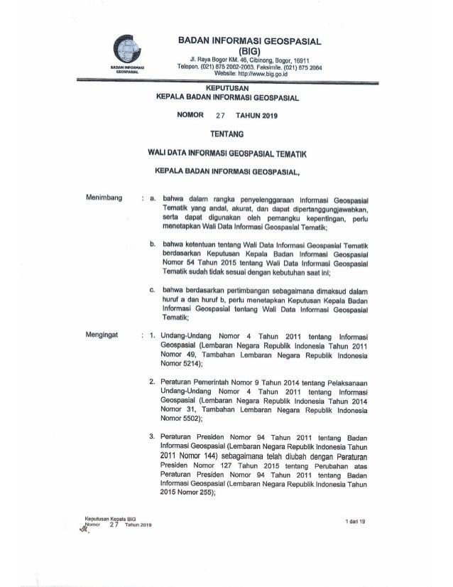 Keputusan Kepala BIG No. 27 tahun 2019 tentang Walidata Informasi Geospasial Tematik