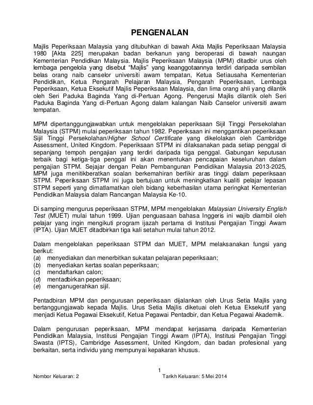 Peraturan Dan Skema Peperiksaan Stpm 2015 Terkini