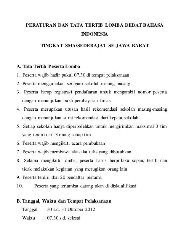 Peraturan Dan Tata Tertib Lomba Debat Bahasa Indonesia