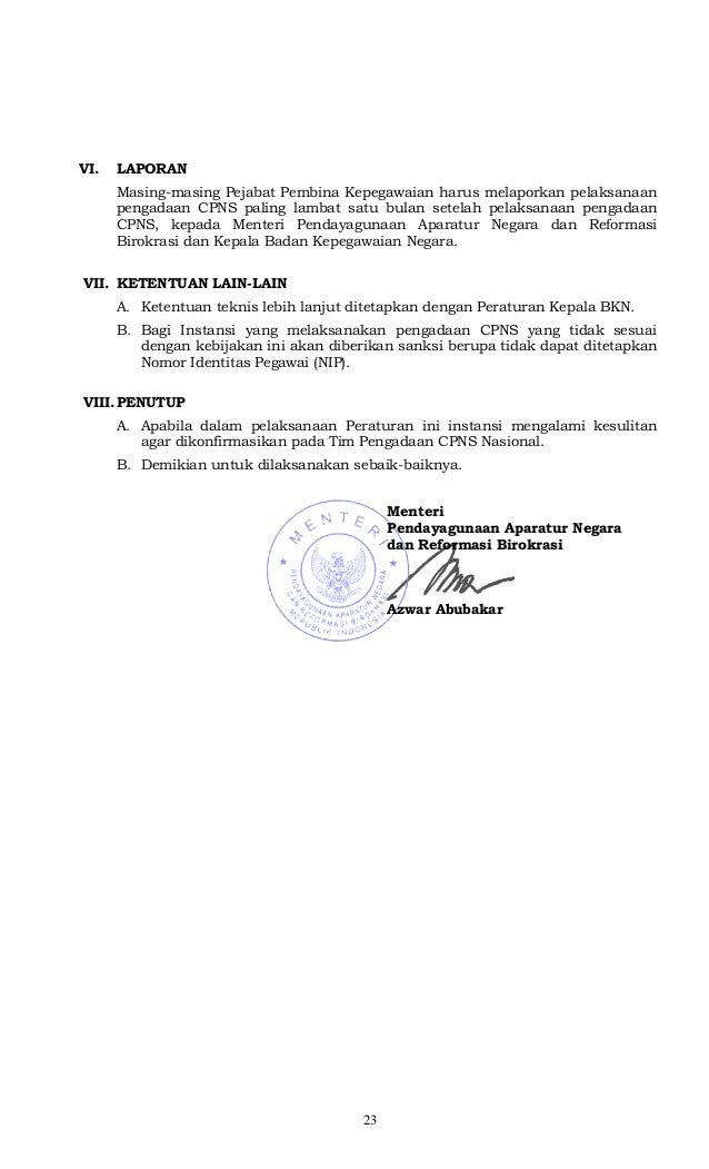 Peraturan Menteri Pan Amp Rb No 197 Tahun 2012