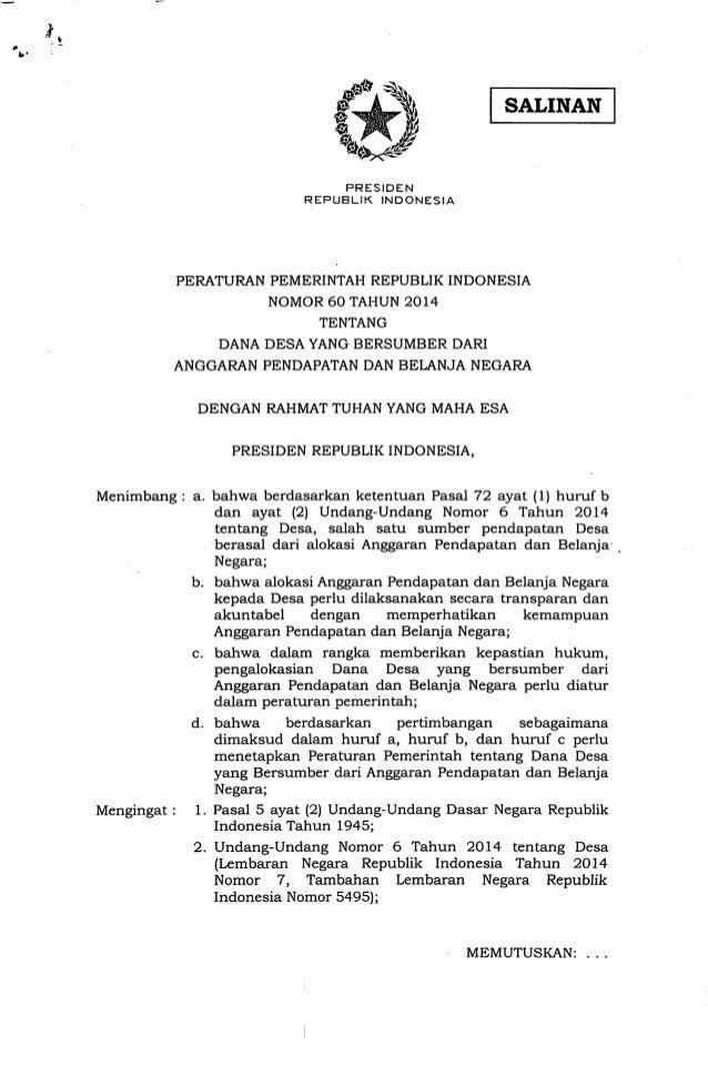 Peraturan Pemerintah No 60 Tahun 2014 tentang Dana Desa yang Bersumber dari Anggaran Pendapatan dan Belanja Negara