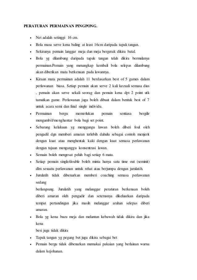Peraturan Permainan Pingpong