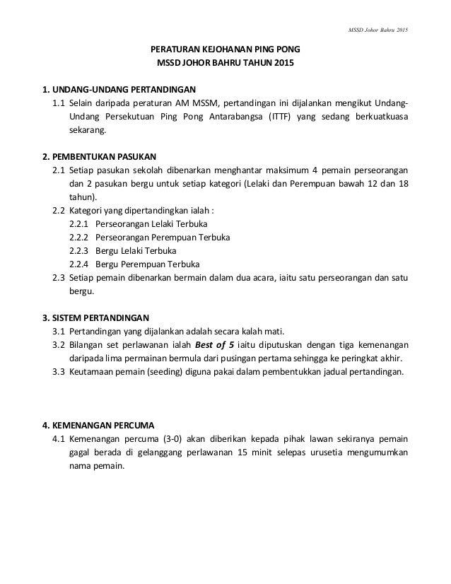 Peraturan Ping Pong Mssd Johor Bahru 2015