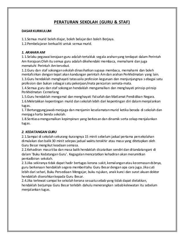 Peraturan Sekolah Guru Guru