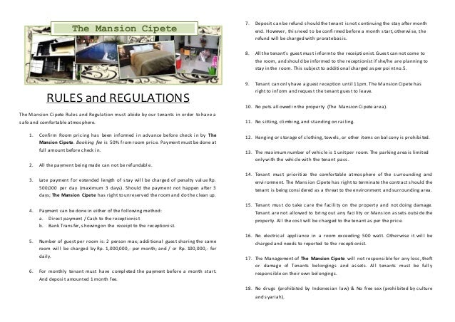 Rules and regulation for rent a room for Rental house rules template