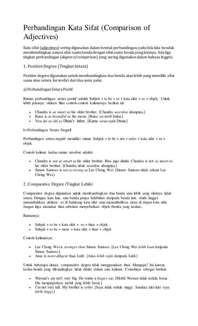 Perbandingan Kata Sifat Dalam Bahasa Inggris