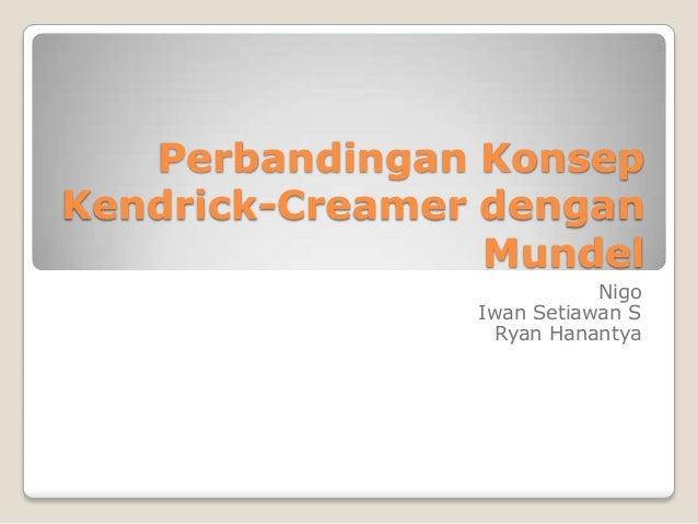 Perbandingan Konsep Kendrick-Creamer dengan Mundel Nigo Iwan Setiawan S Ryan Hanantya