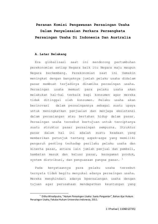 Peranan Komisi Pengawasan Persaingan Usaha Dalam Penyelesaian Perkara Persengketa Persaingan Usaha Di Indonesia Dan Austra...