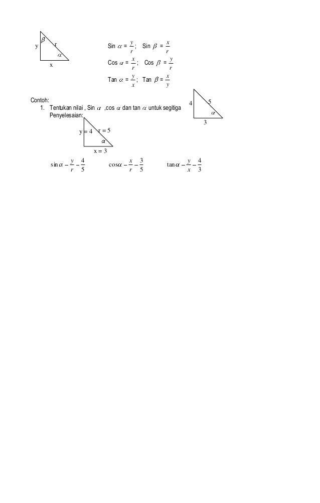 Perbandingan Trigonometri Pada Segitiga Siki Siku