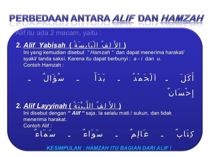 <ul><li>Alif itu ada 2 macam, yaitu : </li></ul><ul><li>Alif  Yabisah  (  الأَ لِفُ الْيَابِسَةُ   ) </li></ul><ul><li>Ini...
