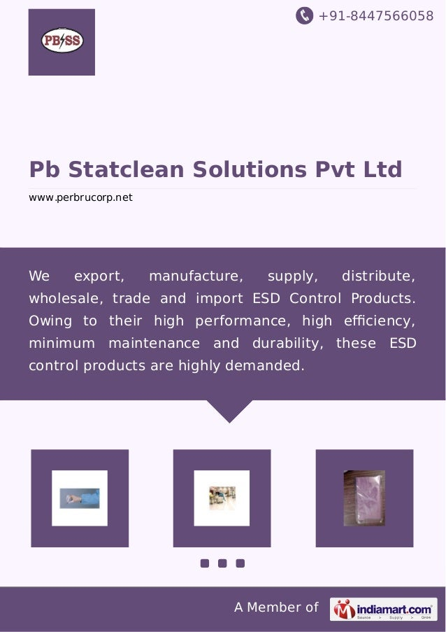+91-8447566058  Pb Statclean Solutions Pvt Ltd  www.perbrucorp.net  We export, manufacture, supply, distribute,  wholesale...