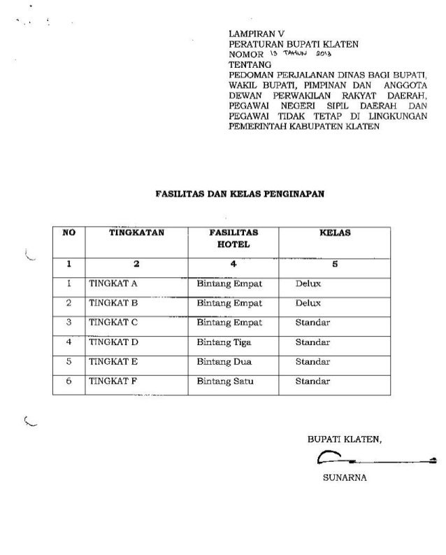 Perbub nomor 13 th 2013 ttg perjalanan dinas bupati