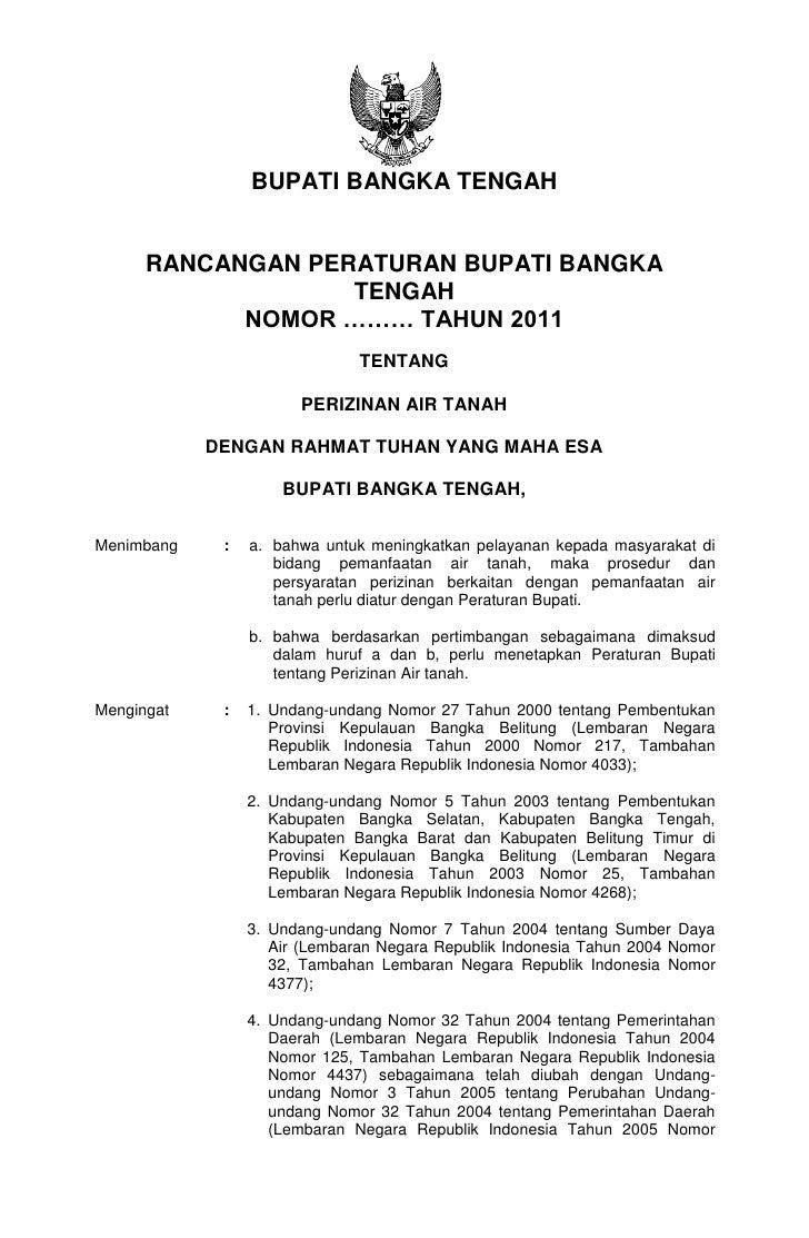 Rancangan Peraturan Bupati Bangka Tengah Tentang Perizinan Air Tanah