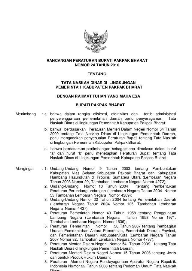 Perbup No 24 Ttg Tata Naskah Dinas Kab Ppb