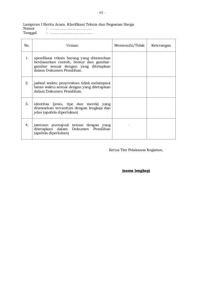 Contoh Berita Acara Negosiasi Teknis Dan Harga Id Transfer