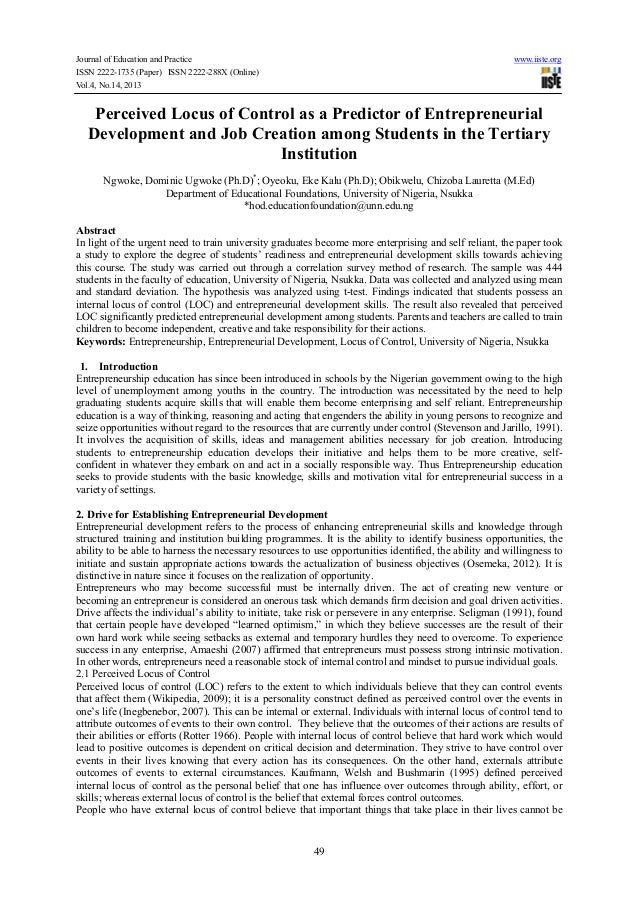 Journal of Education and Practice www.iiste.org ISSN 2222-1735 (Paper) ISSN 2222-288X (Online) Vol.4, No.14, 2013 49 Perce...