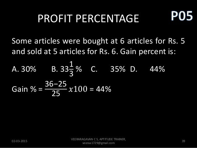 how to find profit percentage