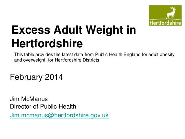 Excess Adult Weight in Hertfordshire This table provides the latest data from Public Health England for adult obesity and ...