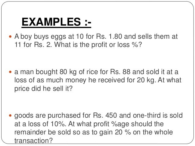 profit and loss examples